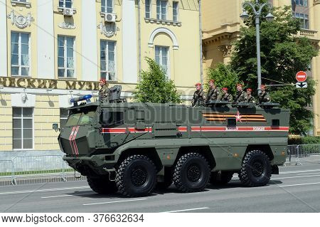 Moscow, Russia - June 24, 2020:armored Truck Of The Military Police Kamaz-63968 `typhoon-k` For Tran