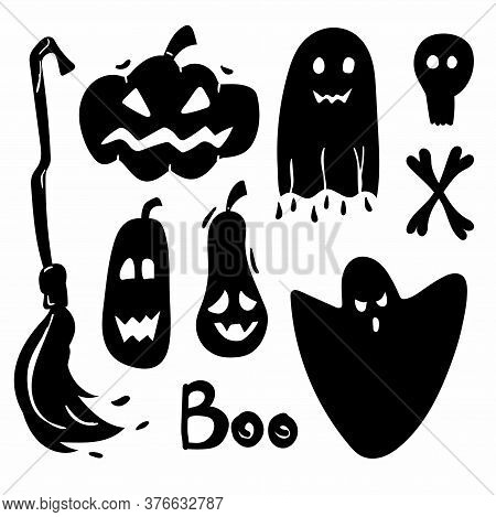 Halloween Silhouettes. Horror Holiday Icons Collection, Pumpkins And Skull, Bone And Broom, Candy, B