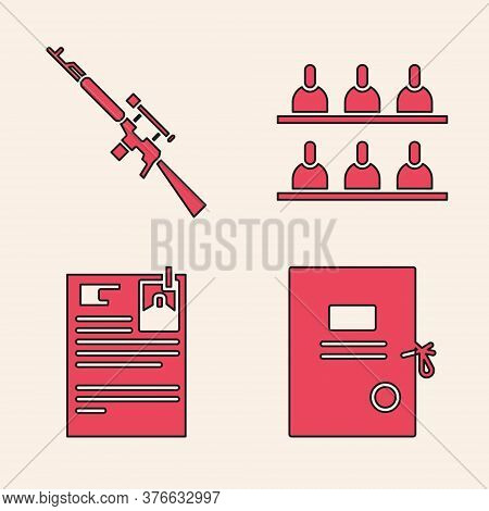 Set Lawsuit Paper, Sniper Rifle With Scope, Jurors And Lawsuit Paper Icon. Vector