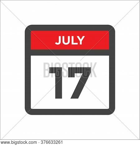 July 17 Calendar Icon With The Day Of Month
