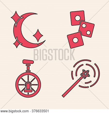 Set Magic Wand, Moon And Stars, Game Dice And Unicycle Or One Wheel Bicycle Icon. Vector