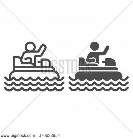 Catamaran With Person Line And Solid Icon, Amusement Park Concept, Beach Boat With Pedals Sign On Wh