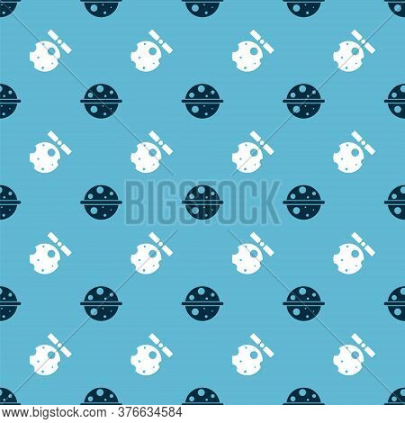 Set Planet Saturn And Satellites Orbiting The Planet Earth On Seamless Pattern. Vector