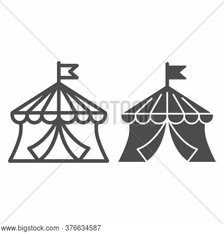 Circus Line And Solid Icon, Amusement Park Concept, Circus Tent Sign On White Background, Round Tent