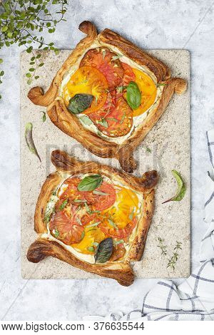 Simple Tomato Tart, Puff Pastry Topped With Ricotta And Tomatoes