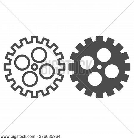Bike Gear Line And Solid Icon, Bicycle Details Concept, Bicycle Crank Sign On White Background, Bicy