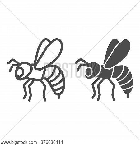 Bee Line And Solid Icon, Insects Concept, Honeybee Sign On White Background, Flying Bee Insect Icon