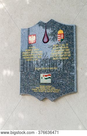 Zamosc, Poland - June 12, 2020: Plaque Commemorating The Residents Of Zamosc Donating Their Blood An