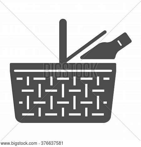 Food Basket Solid Icon, Picnic Concept, Picnic Basket Sign On White Background, Wicker Picnic Basket