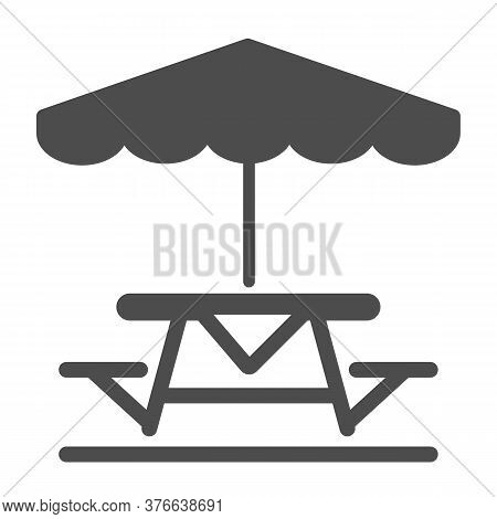 Camping Table And Bench With Umbrella Solid Icon, Picnic Concept, Table And Bench Outside Sign On Wh
