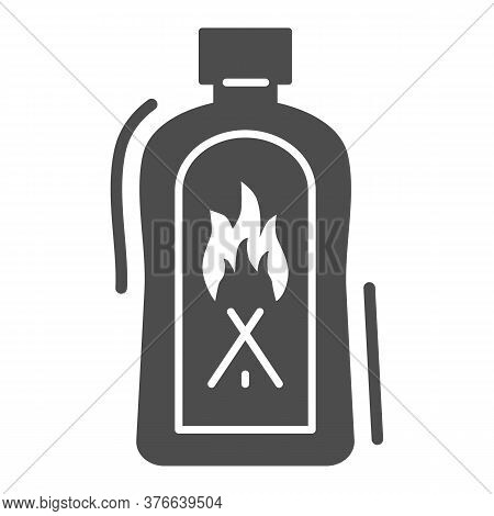 Liquid For Kindling Fire Solid Icon, Picnic Concept, Fire Firing Fluid Sign On White Background, Flu