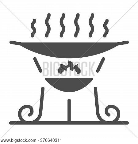 Barbecue Brazier Solid Icon, Bbq Concept, Grill Sign On White Background, Outdoor Grill For Camping