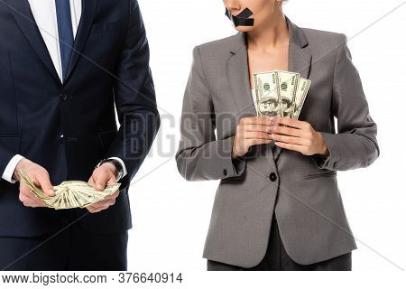 Cropped View Of Businessman Holding Dollars Near Woman With Duct Tape On Mouth Isolated On White, Ge