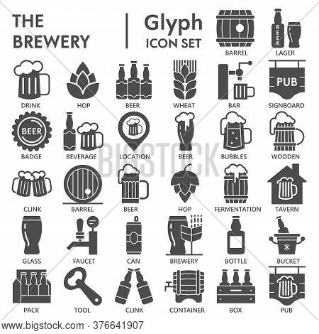Brewery Solid Icon Set, Beer Symbols Collection Or Sketches. Alcohol Beverage Glyph Style Signs For
