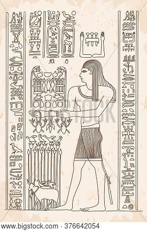 Ancient Egyptian Drawing With Hieroglyphs On Papyrus. A Man Performs A Rite.