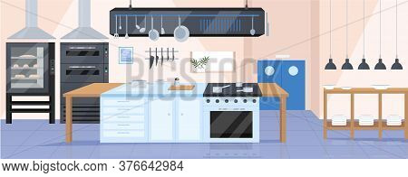 Modern Kitchen Flat Color Vector Illustration. Restaurant Chef Workplace 2d Cartoon Interior Design