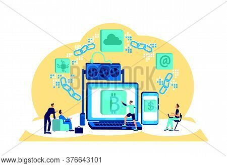 Blockchain Flat Concept Vector Illustration. Secure Financial Transaction. E Wallet For Currency. Cr