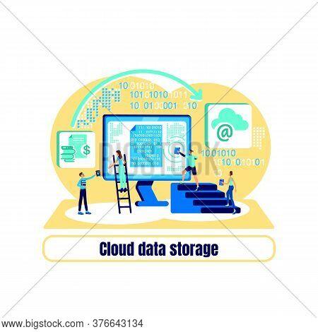 Datacenter Flat Concept Vector Illustration. Cloud Data Storage Phrase. Online Platform. Hosting Ser