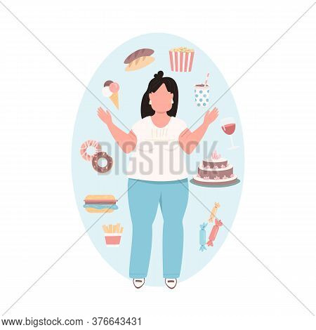 Overweight Woman Flat Color Vector Faceless Character. Chubby Girl In Blue Pants With Unhealthy Diet
