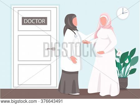 Prenatal Consultation Flat Color Vector Illustration. Muslim Girl Visit Doctor. Clinic For Young Mot