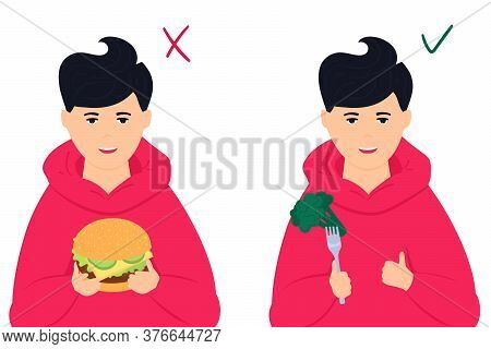 Healthy Vs Unhealthy Food. Boy Holds Burger. And Broccoli. Teenager Likes To Eat Vegetables