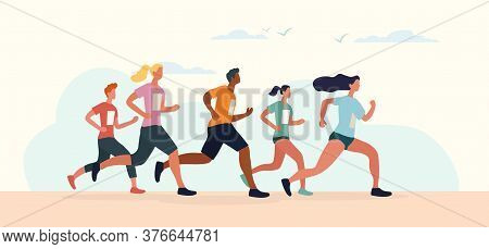 Diverse Group Of Runners In A Marathon With Men And Women Competing Running Together, Colored Vector