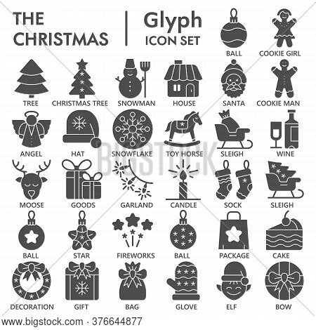 Christmas Solid Icon Set, December Holidays Symbols Collection Or Sketches. New Year Celebration Gly