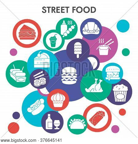 Modern Street Food Infographic Design Template. Takeaway Infographic Visualization Bubble Design On