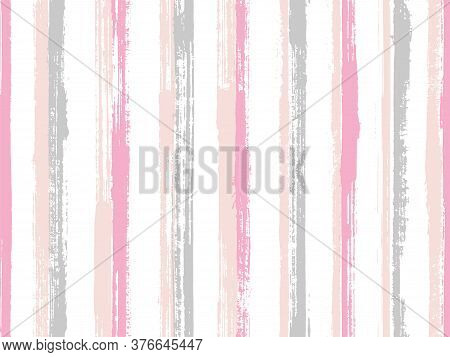 Ink Brush Stroke Straight Lines Vector Seamless Pattern. Cool Bedding Textile Print Design. Old Styl