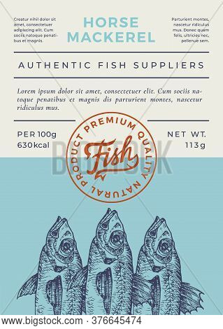 Ocean Fish Abstract Vector Packaging Design Or Label. Modern Typography Banner, Hand Drawn Horse Mac