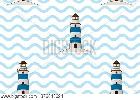 Classic Lighthouse Vector Illustration. Blue Beacon On Waves Seamless. Marine Navigation Building. C