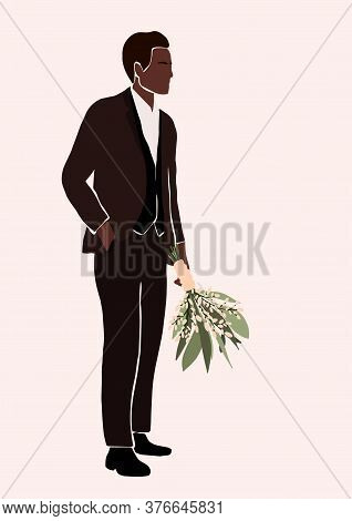 Abstract African American Black Groom In Wedding Suit With Bouquet In Hand Isolated On Light Backgro