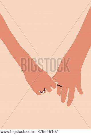 Engagement Wedding Couple Woman And Man Hands With Rings Card Isolated On Light Background. Fashion