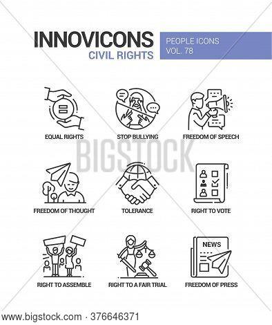 Civil Rights Concept Line Design Style Icons Set