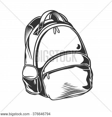Hand Drawn Vector Backpack. Cartoon Casual Backpack Vector Illustration. Back To School. Schoolbag D