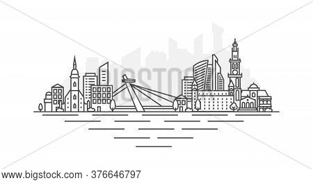 Bratislava City, Slovakia Architecture Line Skyline Illustration. Linear Vector Cityscape With Famou