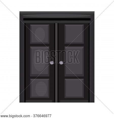 Double Front Door With Knobs. Hall, Facade, Entrance. Illustration Can Be Used For Topics Like Doorw