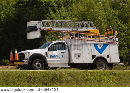 Pleasant Valley, Canada - July 08, 2020: Parked Bell Aliant Utility Truck. Bell Aliant Inc. Is A Com