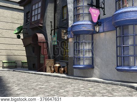 3d Rendering Of A Fairy Tale Medieval Street