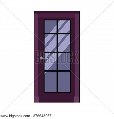 Violet Interior Door With Lattice Window And Handle. Entrance, Doorway, Home. Illustration Can Be Us