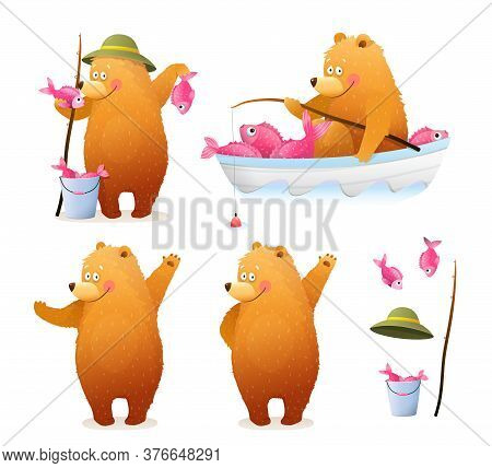 Amusing Bear Fisherman With Bucket Of Fish And Rod Sitting In The Boat, And Standing With Catch. Cut
