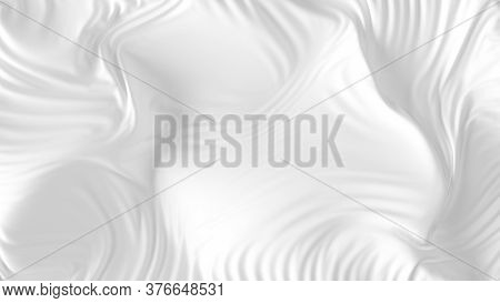 White Silk Background. Closeup Of Rippled Silk Fabric. White Satin Texture With Folds And Drapes. Wa