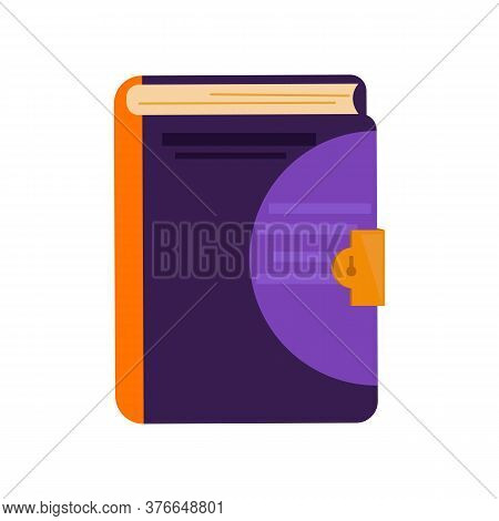 Thick Book With Lock. Secret Purple Diary. Can Be Used For Topics Like Information Security, Journal