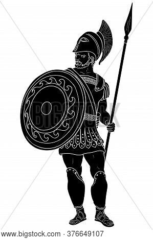 Ancient Roman Warrior With A Spear And Shield In His Hands Is Standing And Looking Away. Vector Illu