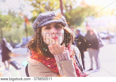 Beautiful Woman Portrait. Beauty Woman Face Portrait. Beautiful Woman Blow Confetti. Stylish Woman P
