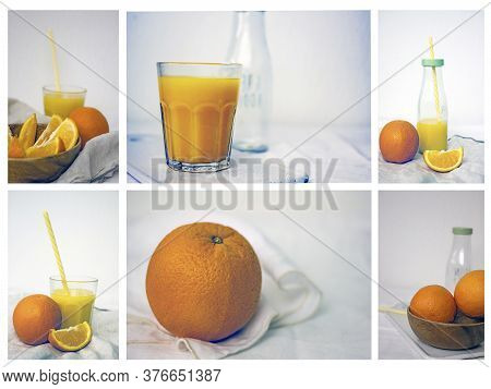 Freshly Squeezed Orange Juice Collage. Orange Juice In A Glass With A Straw, Orange Juice In A Bottl