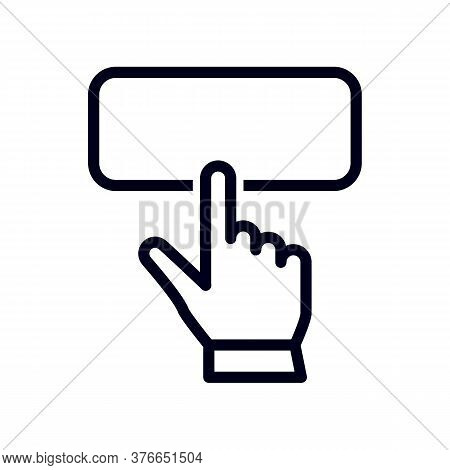 Hand Pointer Or Cursor Mouse Clicking On Apply Now Button Linear Icon. Symbol In Form Of Pressing Ha