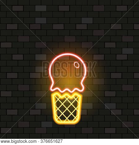 Vip Neon Icons. Night Bright Signboard, Glowing Light Banner. Neon Ice Cream In Waffle On Dark Brick