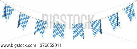 Garland Of Bavarian Party Flags Buntings Of Checkered Blue Flag With Blue-white Checkered Pattern, T