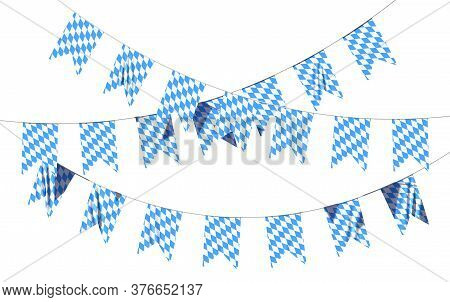 Bavaria Party Flags Garland Buntings Of Checkered Blue Flag With Blue-white Checkered Pattern, Tradi